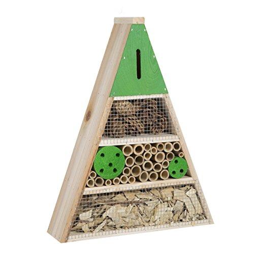 Wedestock Maison à Insectes, Hôtel Refuge en Bois Forme Triangle à Poser ou Suspendre Détails Verts