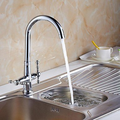 SHUYOU® Contemporary Chrome Finish Brass Single Handle One Hole Waterfall Kitchen Faucet