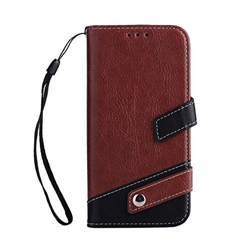 Bookstyle Horizontale Flip Stand Case Litchi Texture Dual Farbe genäht PU Leder Tasche mit Lanyard & Niet Button für Samsung Galaxy J5 2017 ( Color : Red ) Brown