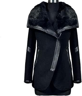 Zeagoo Femme Manteau Mode Cols épais Chaud en Fourrure Zipper Veste Trench Coat Parka Manteaux Grand Taille