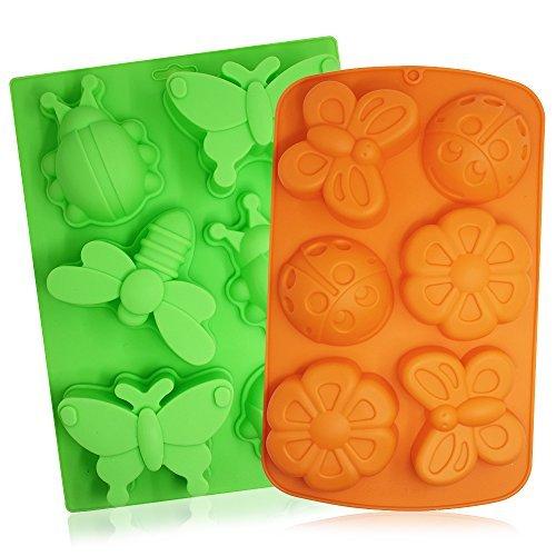 2PCS Insekten Silikon Schalen, Senhai 6-cavity 3D Libelle Schmetterling Marienkäfer Kuchen Backen Formen, DIY Seife handgefertigt Muffin Biscuit Cookie Pfannen–orange, grün