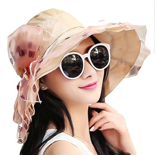 Korean Fashion Hut Sommer Sonnenhut Sun Hat Sonnenbrille UV Strand Hut Sun Cool Hut Hut Frei Zu Falten ZHAOYONGLI (Farbe : Champagner, größe : M)