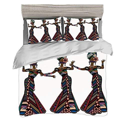 Bettwäscheset (220 x 240cm) mit 2 Kissenbezügen Afrikanische Frau Digitaldruck Bettwäsche Junge Frauen in den stilvollen gebürtigen Kostümen Karnevals-Festival-Thema-Tanz-Bewegungen dekorativ, mehrfar (Zwei Stück Zeitgenössischen Tanz Kostüm)