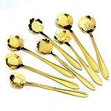 Fablcrew 8pcs cucharillas de café en Forma de Flor de Acero Inoxidable cucharas de té para Leche café té Postre, Acero Inoxidable, Dorado, 2.8 * 12.5 * 1.1CM