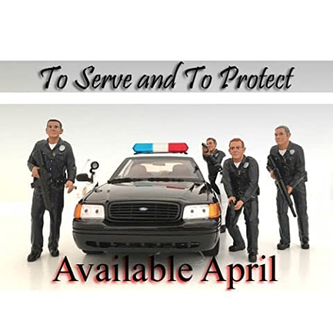 Police Officers 4 Piece Figure Set For 1:24 Scale Models by American Diorama 24031,24032,24033,24034 by American