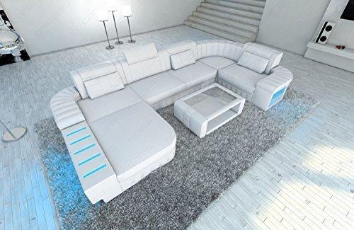 Design Canapé en cuir Bellagio forme U avec éclairage LED BLANC