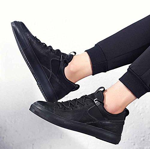 Hommes Casual Chaussures En Cuir Plat 2017 Automne Hiver Nouvelles Chaussures De Skateboard Light Trainers Noir
