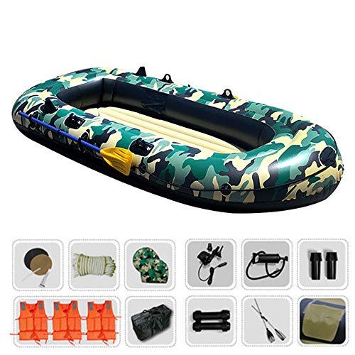 Assault Boat 4, Schlauchboot-Sets für 4 Personen (3 Erwachsene + 1 Kind) mit Paddel, Luftpumpe, Kissen, Seil (neuestes Modell) zum Angeln oder für die nautische Freizeit - Kissen Boot Bogen