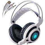 SADES Arcmage 3.5mm PC Gaming Headset avec Volume du microphone Noise Control Annulation LED pour PC / ordinateur portable / ordinateur portable (Blanc)
