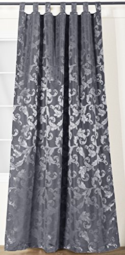 Jacquard-gewebe (novum fix Vorhang mit Schlaufen und zusätzlichem Schienenband, Dekoschal, Jacquard-Gewebe 140x245 cm (BxH) mit Kräuselband (Schienenband), grau)