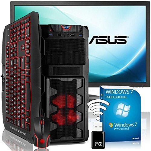 "AGANDO Silent Gaming PC-Komplettpaket | Intel Core i5 7400 4x 3.5GHz | Turbo 4.1GHz | AMD Radeon RX 460 4GB | 16GB RAM | 1000GB HDD | DVD-RW | USB3.1 | 60cm (24"") TFT | Gaming-Tastatur | Gaming-Maus | WLAN | Win7Pro | 36 Monate Garantie | Computer für Multimedia, Gaming, Büro/Office"
