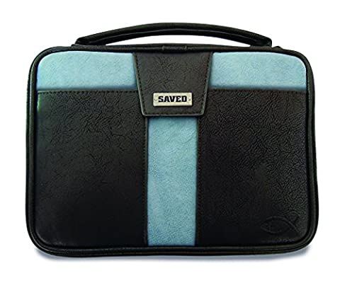 Saved Cross Black and Blue Faux Leather X-Large Bible Cover