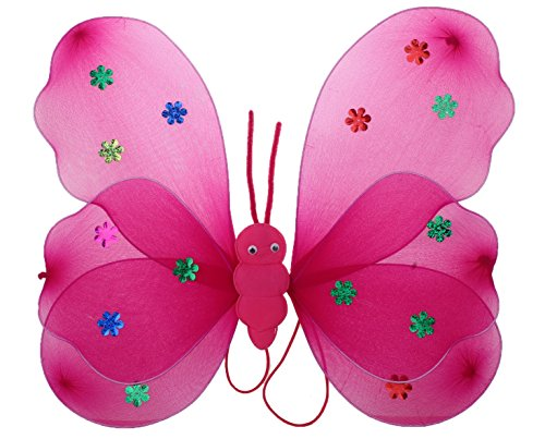 Funny Teddy Fairy Butterfly Wings Costume Barbie For Baby Girl Angel For Birthday Theme Party (Dark Pink) | Includes:Butterfly Wings,Hairband And Magic Wand/Stick .