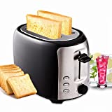 Meykey toaster langschlitz 2 scheiben 7 Röstgradstufen Cool-Touch Gehäuse Automatik 800W Schwarz