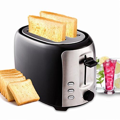 Toaster Edelstahl mit Brötchenaufsatz 2 Scheiben Schwarz, 7 Stufen, 800W