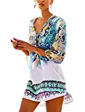 Cover Up Swimwear, MoliPeony Women's Beachwear Plus Size Floral Chiffon Bikini cover ups Dresses (Seablue)