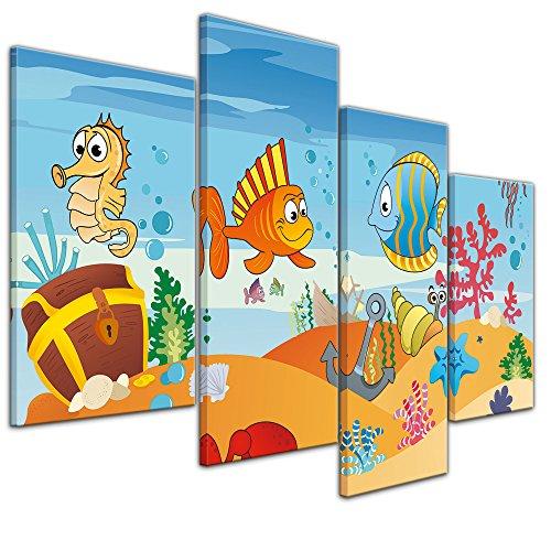 Wandbild - Kinderbild Unterwasser Tiere VII - Bild auf Leinwand - 120x80 cm vierteilig - Leinwandbilder - Kinder - versunkenes Schiff mit Piratenschatz - Krabbe, Seepferdchen und Fische - fröhlich -