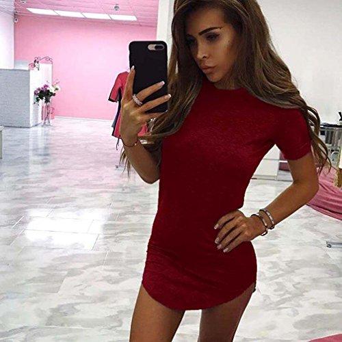 Kleid Transer® Damen Sundress T-Shirt Pyjama O-Ausschnitt Kurzschluss-Hülse Gemütlich Mini Kleid Sommer Strand Schwarz Grau Rot Baumwollmischung Minikleid Gr.S-XL Rot