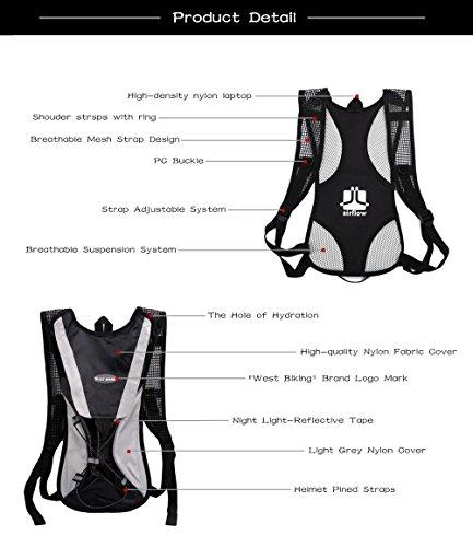 West Biking stärker Hydration Backpack + 2,5l Wasser Rucksack, muli-functions Kleine Werkzeuge Tasche, leichte Tasche für Reiten Camping Bergsteigen Bergsteigen, 6Farben Schwarz Set