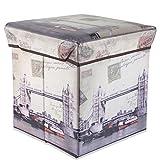 Cadorabo Intirilife – 30 x 30 x 30 cm Sitzhocker Aufbewahrungs-Box aus Stoff und Pappe Faltbox Ordnungsbox Kiste mit Deckel und London Aufdruck in London-Bridge