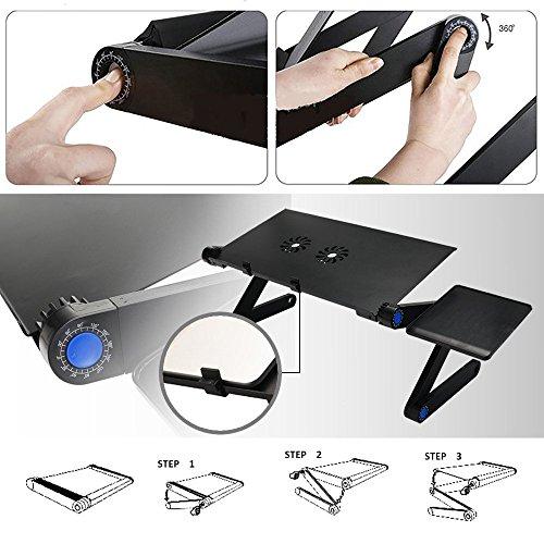 360° ajustable con ventilación para ordenador portátil mesa para portátil para ordenador portátil bandeja de cama función atril multifuncional y ergonomía diseño Premium de aluminio de mesa Lapdesks con ratón Junta (negro)