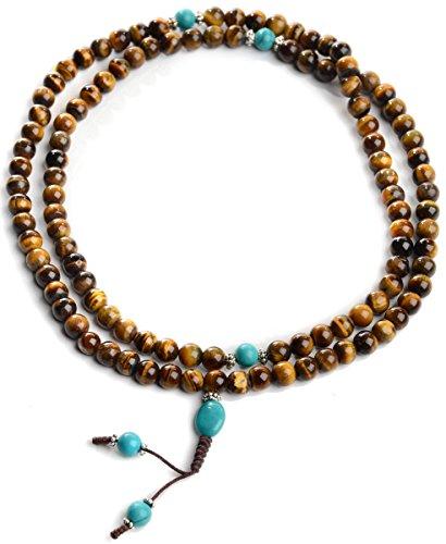 BUDDHAFIGUREN/Billy Held Mala-buddhistische Auge des Tiger mit Türkis, Rosenkranz mit Kette Perlen 9mm