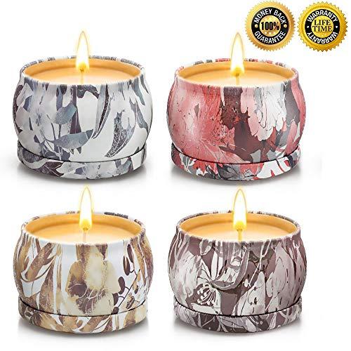 Yinuo light candele profumate, set regalo donna,100% natural soy wax durata 25-30 ore candela profumate regalo per la decorazione di aromaterapia la festa nuziale natale compleanno san valentino