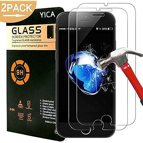 iPhone 7 Protectores de Pantalla, Yica [2 Pack] Pantalla de Cristal Templado Protección Protector para el iPhone 7 / 6s / 6, Resistente a los Arañazos Ultra Clear más Duradero de la Pantalla iPhone 7 Protector de Cristal de Vidrio