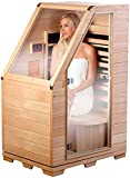 newgen medicals Sauna: Kompakte Infrarot-Sitzsauna aus Hemlock-Holz, 760W, benötigt 0,62 m²...