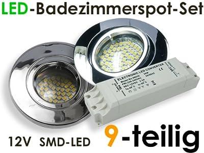 "12V SMD-LED Einbaustrahlerset ""Splashing + Trafo"" für Bad & Dusche, 9-teilig, Chrome"