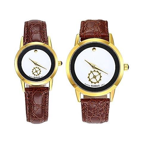 Hongboom Marron véritable de bande de cuir montre bracelet Homme Femme décontracté analogique à quartz Couples Montre-bracelet étanche jusqu'à 30m