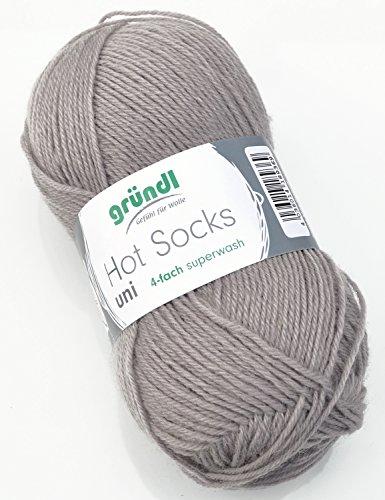 Gründl Hot Socks Sockenwolle grau uni Farbe 57, Strumpfwolle, Wolle zum Socken stricken (Grau Wolle-socke)