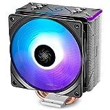 DeepCool Gammaxx GT-BK Ventola per CPU con 4 Coppie di Tubi di Calore e Copertura Superiore RGB, Dissipatore per CPU con 120mm PWM Ventola RGB Silenziosa(AM4 Compatibile, Pasta Termico Incluso)