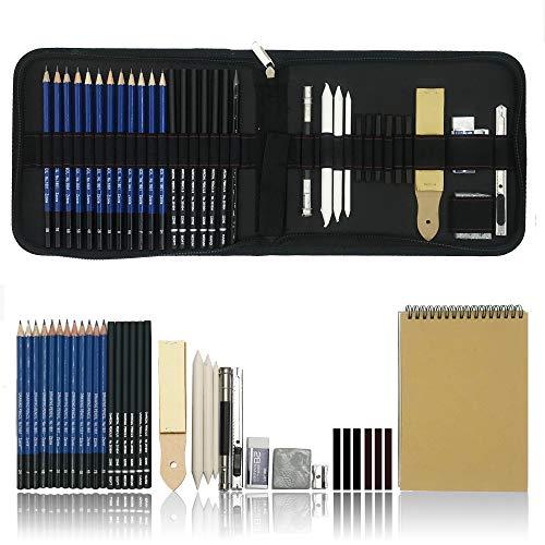 36 PCS Set d'art de Crayons Fusain Pour Dessin et croquis, Materiel Dessin Professionnel Gommes à effacer et aiguisoirs Carnet de croquis a5 - idéal pour les travaux scolaires et professionnels