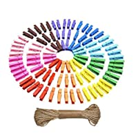 ASTRQLE 50PCS Multi-Color Wooden Clips + 5 Metres Hemp Rope DIY Photo Picture Paper Peg Pin Clamp Clothespins Clothes Craft Hanging Hanger Pins For Wall Frames