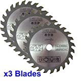 Drei Kreissägeblätter 85mm Durchmesser x 10mm Bohrung x 24T Holz Schneiden
