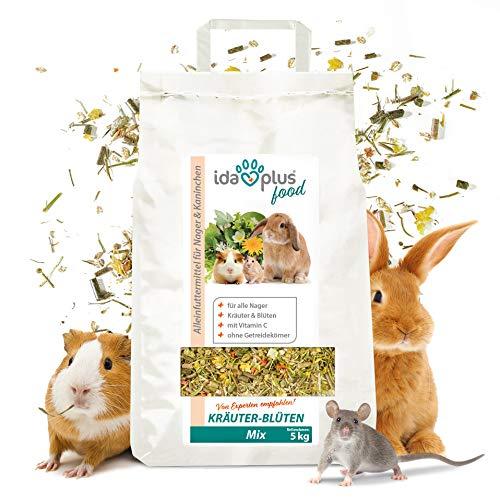 Ida Plus - Kräuter-Blüten Mix 3,5 kg - Abwechslungsreicher Futter-Mix für Nager: Kaninchen, Zwergkaninchen, Hamster, Meerschweinchen, Chinchillas usw. - mit Karotte & Luzerne + Vitamin C
