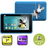 "Lenco Cooltab-72 Lapins Cretins Tablette tactile 7"" (17,78 cm) ARM Cortex A7 1,2 GHz 4 Go Android Jelly Bean 4.2.1 Wi-Fi Bleu"