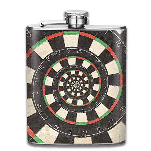 Rundafuwu Flask for Liquor and Funnel, Stainless Steel Leak-Proof Hip Flask Spiral Dart Board Droste Flagon Whiskey Container Flask Pocket for Unisex