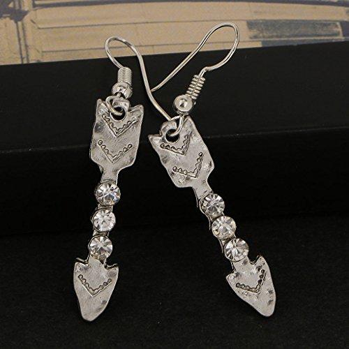 ELECTROPRIME Women Charming Jewelry Stud Earings Silver Arrow Rhinestone Dangle Earrings