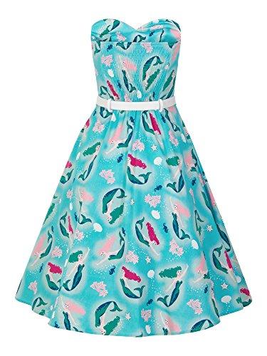 Collectif Vintage - Robe - Femme Aqua Blue & Pink Aqua Turquoise & Pink