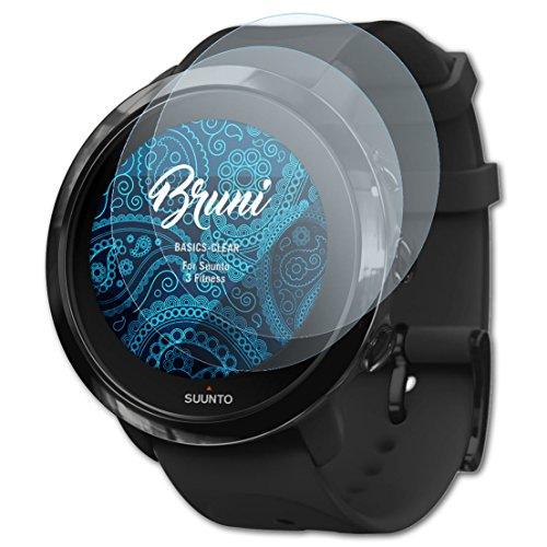 Bruni Schutzfolie kompatibel mit Suunto 3 Fitness Folie, glasklare Displayschutzfolie (2X)