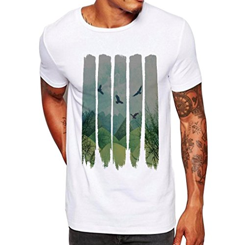 Preisvergleich Produktbild Herren Classics Herren T-Shirt Drucken Short Sleeve Oversize Shirt Kurzarm T-Shirt Rundhals Sportswear Kurzarmshirt Sommer Top Casual Mode Basic O-Neck Freizeit Hemden LUCKYCAT (Weiß,  Small)