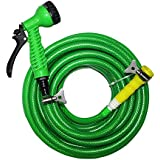 "TechnoCrafts PVC Braided Hose For Floor Care 15 Meter (50 Feet) 1/2"" (0.5 Inch Or 12.5mm) Bore Size - 3 Layered Hose Pipe With 7 Function Spray Gun, 1/2"" Tap Connector & 2 Butterfly Clamps"
