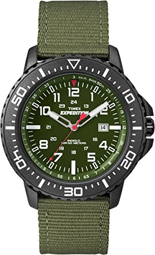 Timex Herren-Armbanduhr XL Expedition Uplander Analog Quarz Plastik T49944D7 (Timex Grünen Band)