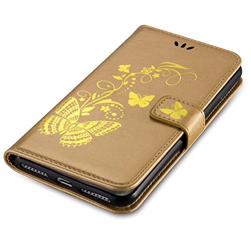 Coque pour iPhone 7 PLUS ,Housse en cuir pour iPhone 7 PLUS,Cozy Hut Bronzante Papillon Fleur imprimé étui en cuir PU Cuir Flip Magnétique Portefeuille Etui Housse de Protection Coque Étui Case Cover  d'or