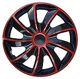 Wheel Trims Set of 4 Quad Bicolor Red covers (15
