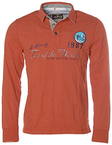 St. Moritz Herren Langarm Shirt Poloshirt Polokragen Alpine Sporting Events Orange