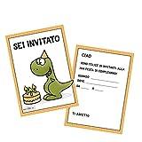 Invito Compleanno - Set da 10 Biglietti invito per Festa Dinosauro Compleanno per Bambini Maschietti e Adulti in Italiano - Dinosauro T-Rex Boulder Climbing