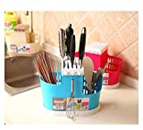 Holder Plastic for Kitchen Countertop/Dining Table Storage Home Use Kitchen Tool Knife Spoon Chopsticks Fork Multifunction Storage Box Rack Cutlery by ShinfeLife (Blue)